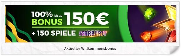 Casino Luck Bonus: 100 Prozent bis 150 Euro + 150 Freispiele