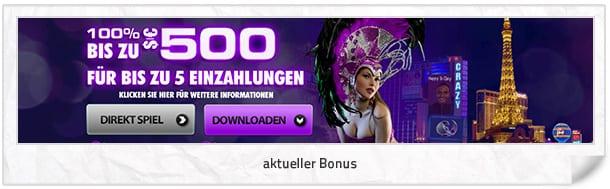 Crazy Vegas Casino Bonus: 100 Prozent bis 500 Euro + 30 Freispiele