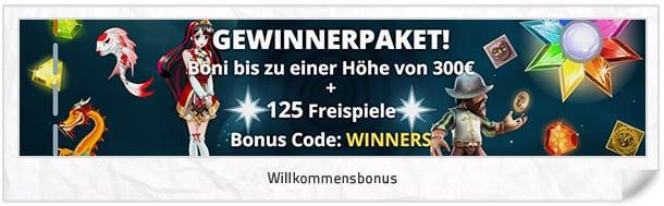 Vegas Winner Bonus: Bis zu 300 Euro + 125 Freispiele für neue Kunden